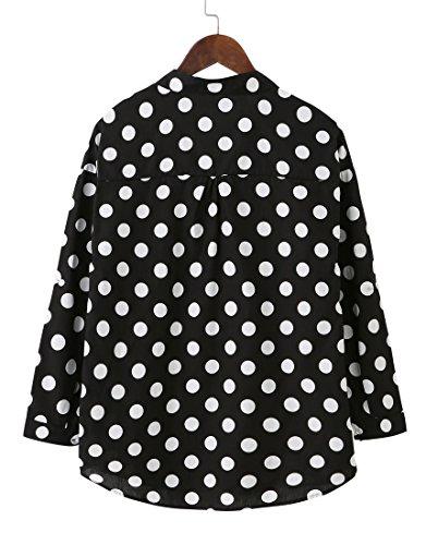 V Vrac Chemise Manches Dot en Col Blouse Mode Noir Occasionnel Femme Longues Poche Tops Une Polka Dioufond wzP0If