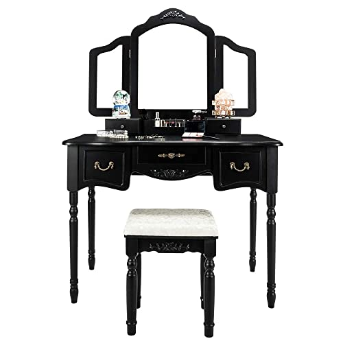 5 Drawer Vanity Table Set for Girls Woman Adults Large Makeup Vanity Table with Tri-Folding Mirror Cushioned Stool for Bedroom Dressing Table Black