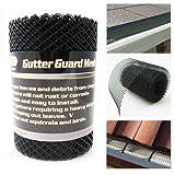 Gutter Guard Mesh 16 Ft X 6In Black Plastic 5' & 6' Gutters Cover Easy Install