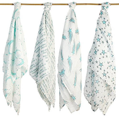 Baby Swaddling Blankets Organic Silky Soft Muslin Cotton Bamboo - Exclusive Prints - Boys & Girls Unique Gift Box - Unisex Adam & Elsa 4 Pack Oversized (Aqua Blue Wish - Adam Blanket