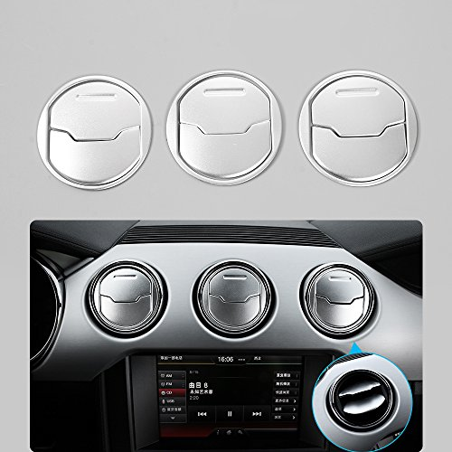 Mustang Air Vent - Aluminium Alloy Dashboar Center Console Air Conditioner Outlet Vent Cover Trim for Ford Mustang 2015 2016 2017 Interior Trim Accessories (Silver)