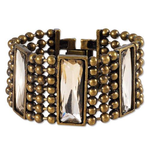 Smoky Topaz Faceted Glass Multi-Strand Ball Chain Bracelet 7-3/8