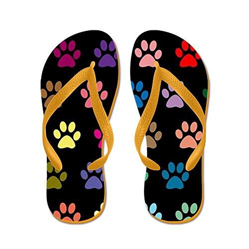 Cafepress Kleurrijke Puppy Pootafdrukken Patroon - Flip Flops, Grappige Thong Sandalen, Strand Sandalen Oranje