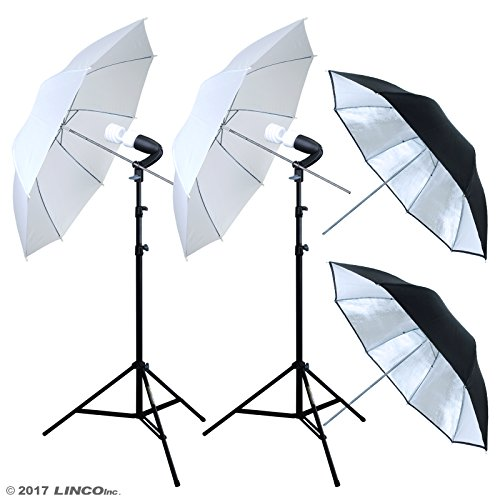Linco Lincostore 400w 5500K Photo Studio Lighting Umbrella Kit for Portrait Photography,Video Shooting AM128 by Linco