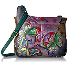 Anuschka Anna Handpainted Leather Medium Cross Body-Butterfly Paradise