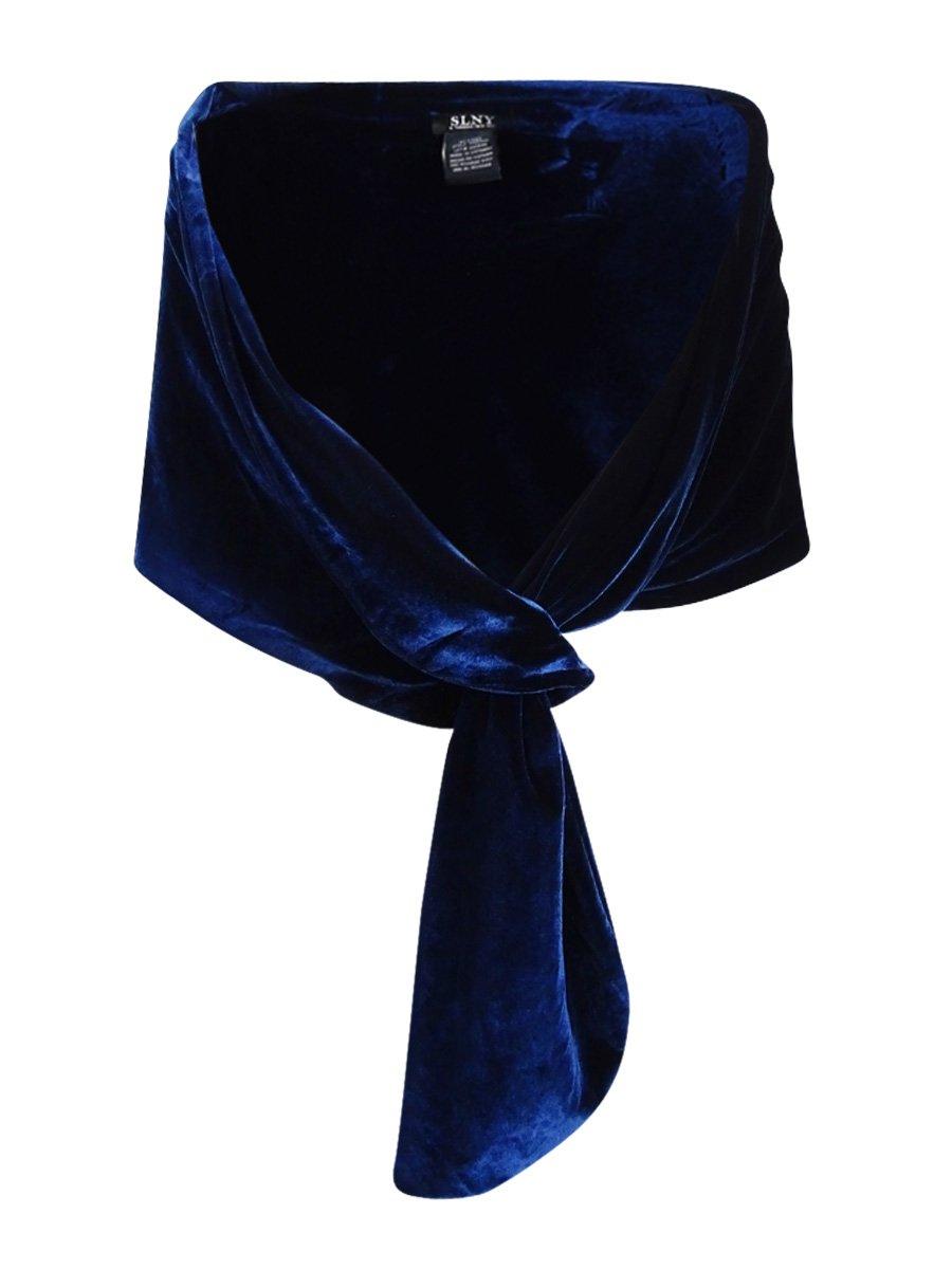 SLNY Womens Velvet Loop-Through Shawl/Wrap Black O/S 119335M