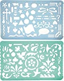 #9: Set of 2 Artistic Drafting Art Templates of Various Shapes and Designs for Artists and Art & Craft Projects
