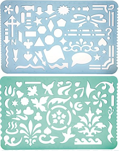 Set of 2 Artistic Drafting Art Templates of - Stencils For Kids Art And Craft