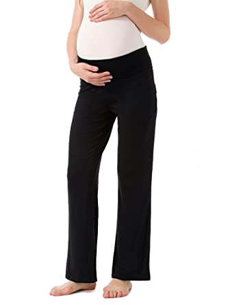 16b5a99fe4dee Ecavus Women's Maternity Wide/Straight Versatile Comfy Palazzo Lounge Pants  Stretch Pregnancy Trousers Black