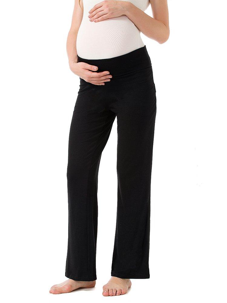 Jinson Women's Maternity Wide/Straight Versatile Comfy Palazzo Lounge Pants Stretch Pregnancy Trousers (L, Black)
