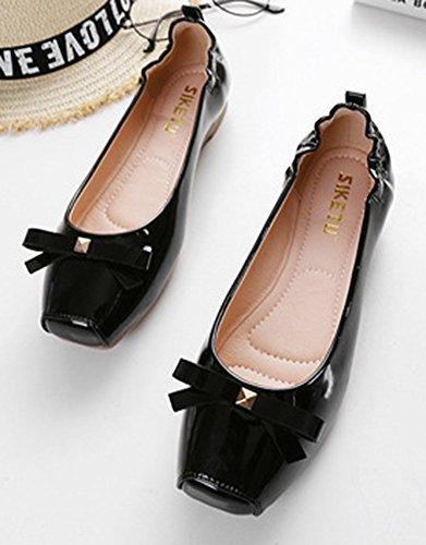 9mlw1 Bout Classique Noir Nœud Aisun Papillon Femme Carré Ballerines OFwn87q