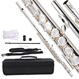 ADM Silver Plated Closed Hole C Flute Beginner Kit with Case,Tuning Rod, Gloves