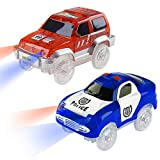 Track Replacement Car ( 2 Pack), Electric Light up Military Jeep, Blue Police Car with LED Lights, Glow in The Dark Compatible with Most Racing Tracks,Gift for Boys and Girls