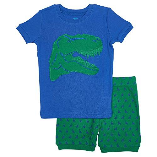 Dino Short - Bluenido Boys Dino Shorts 2 Piece Pajama 100% Soft Cotton - Blue, 8 Years