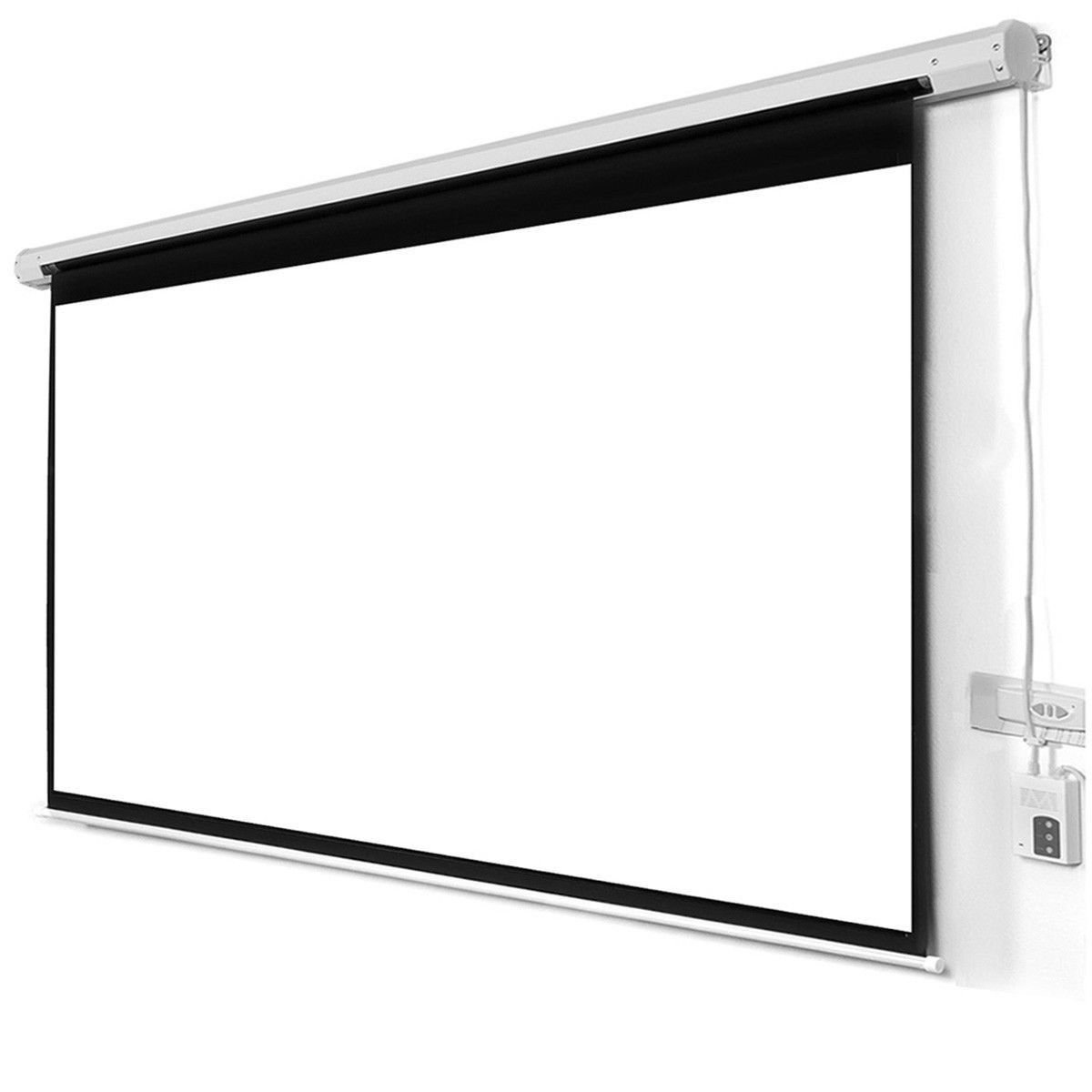 Safstar Electric Motorized Auto Projector Projection Screen With Remote Control 16:9 Square 105'' X 59'' View 120'' Diagonal