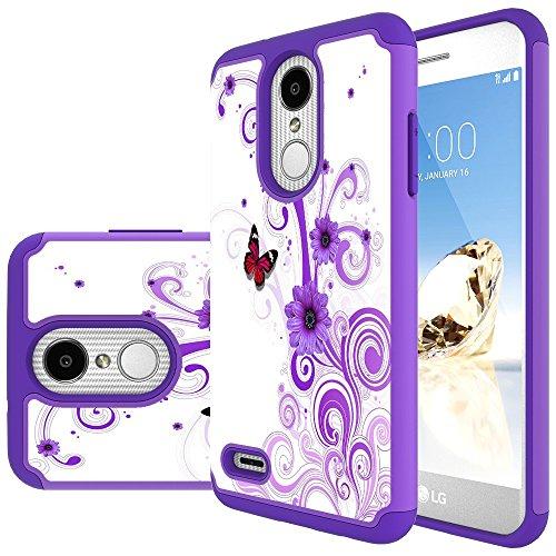 MAIKEZI LG Zone 4 Case,LG Aristo 3/Phoenix 4/Rebel 4/Aristo 2/Aristo 2 Plus/Tribute Dynasty/K8 2018/Fortune 2/Rebel 3/K8 Plus/LG Tribute Empire Dual Layer TPU Plastic Phone Case Cover(Purple - Plastic Purple Case