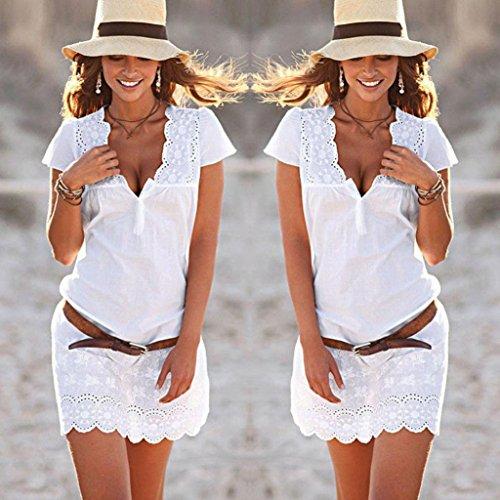 Manica misto Vestito bodycon Vestito corta Abiti donna da Colletto cocktail SamMoSon da partito dress Sexy pizzo V Abito cotone Sq7xqw0TWr