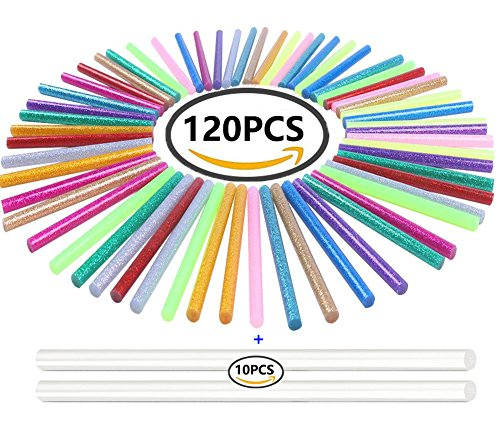 130pcs Colorful Hot Melt Glue Stick, WeiMo Small Glue Gun Used Long Shape Hot Melt Glue Stick for Art Craft DIY Home Decoration Sealing and Gluing (130) by WeiMo (Image #9)