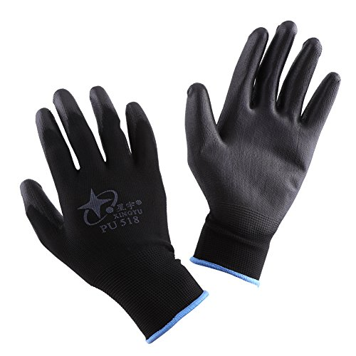 XINGYU PU 518 Coated Palm Anti-static Protective Gloves for Electronic IC Working, Black Color, S/M/L Optional Size (Large)
