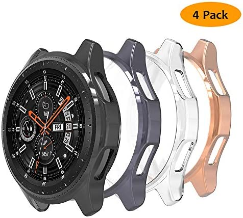 Hianjoo 4 Packs Case Compatible with Samsung Galaxy Watch 46mm Gear S3, Scratch-Resistant Soft TPU Lightweight Protective Bumper Shell Cover – Clear Black Rose Gold Space Gray