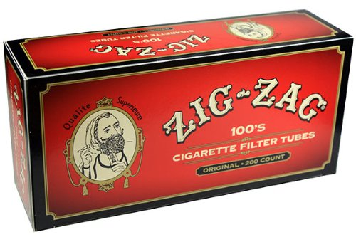 (Zig Zag Full Flavor Red RYO Cigarette Tubes - 100mm Size 200ct Box (5 Boxes))