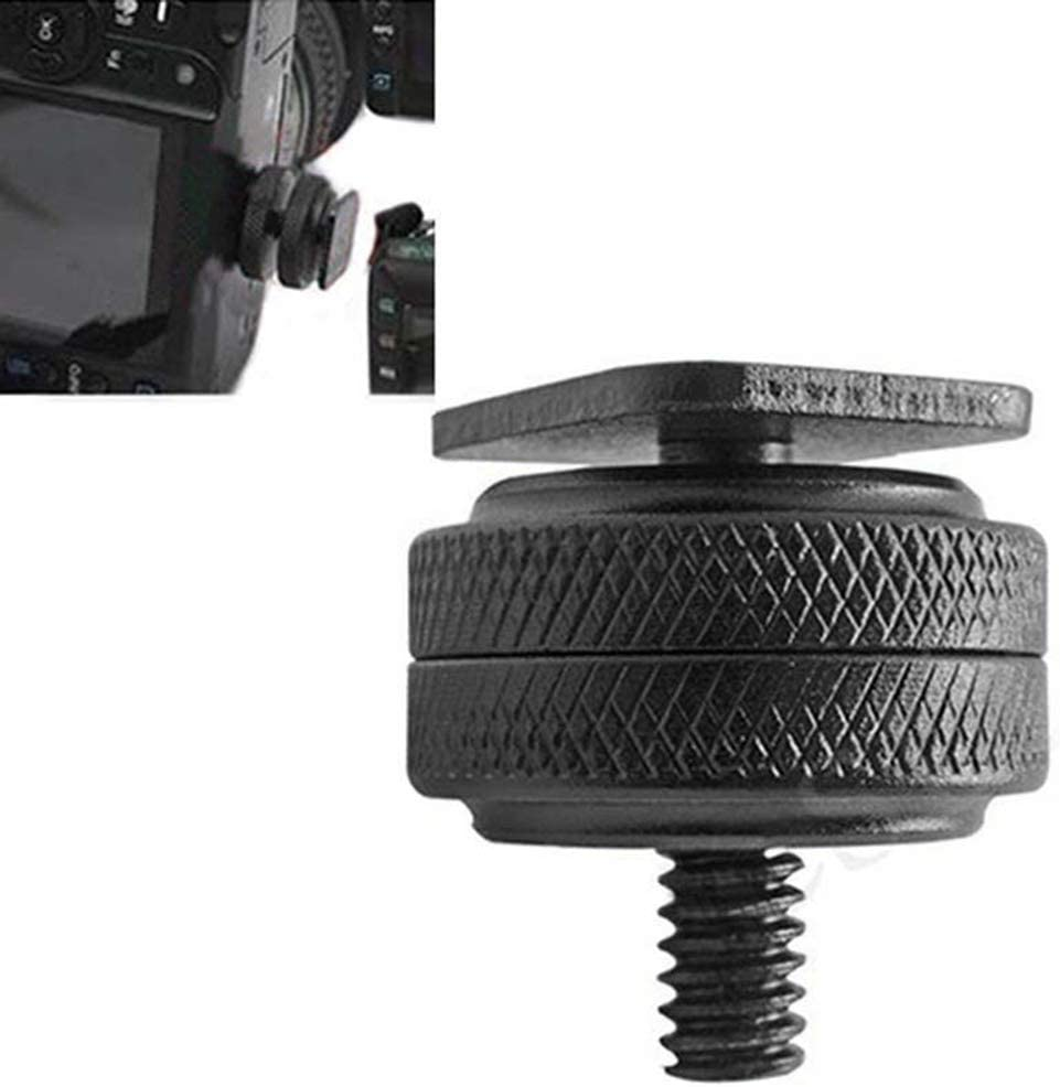 1//4 Tripod Screw to Hot Shoe Adapter Mount,Wulidasheng Camera Supplies 1//4 Inch Dual Nut Tripod Mount Screw to Flash Camera Hot Shoe Adapter Converter