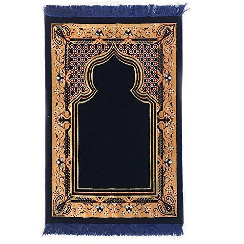 Double Turkish Islamic Prayer Rug Plush Velvet Janamaz Prayer Mat (Blue) by Al Arabia