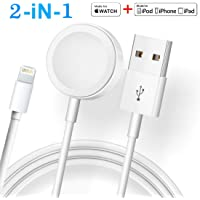 Updated Version Watch Charger Magnetic Cable for iWatch 5/4/3/2/1, 2in1 Wireless Charging Cable Compatible with Apple Watch Series 5/4/3/2/1 and iPhone11/11 Pro/11 Pro Max/XR/XS/XS Max/X/8/8P/7/7P
