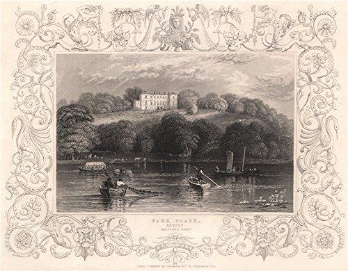 - 'Park Place, Henley, Maitland Esq'. Berkshire. By Wm TOMBLESON. Decorative - 1835 - old print - antique print - vintage print - art picture prints of Berkshire