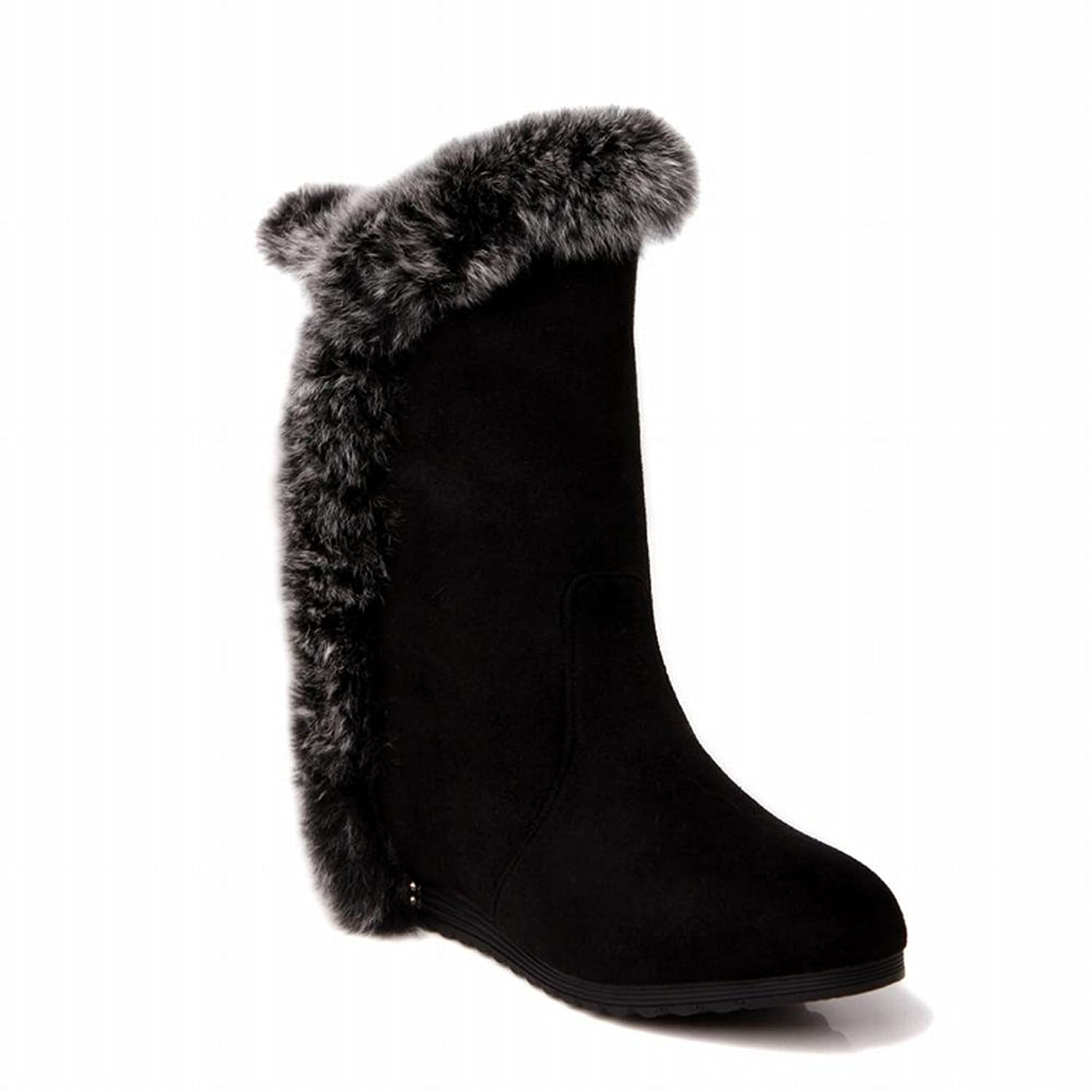 free shipping Charm Foot Women's Fashion Nubuck Thick Velvet Lined Low-heel High-top Winter Cold Weather Snow Boots