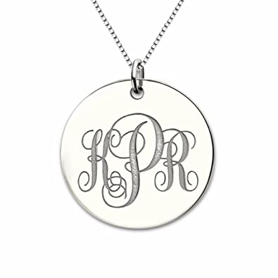 cd08c36630b9b9 Amazon.com: MissNity Monogrammed Necklace Personalized Initials 925  Sterling Silver White Gold Plated Nameplate Pendant Custom Name Jewelry for  Her ...
