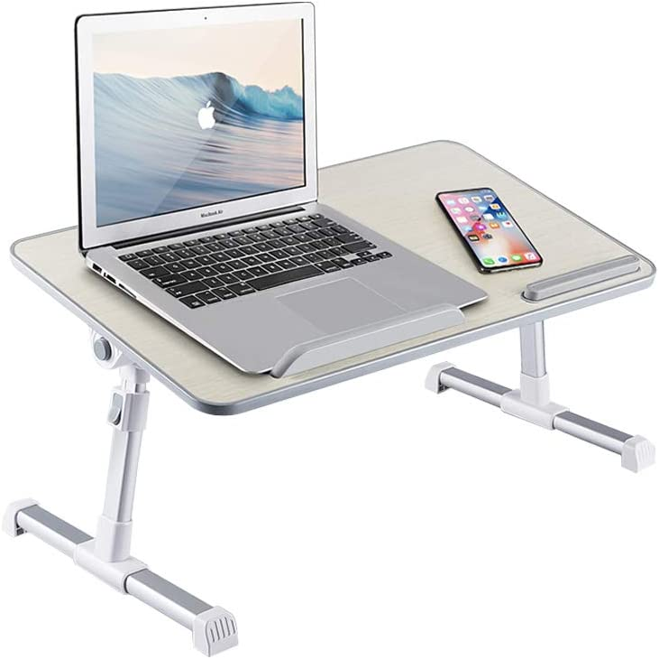 DEWVIE Laptop Desk Bed Tray, Height and Angle Adjustable Computer Standing Desk Lap Desk with Foldable Legs for Reading and Writing in Bed, Sofa, Couch, Floor
