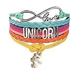 Cute Unicorn Bracelet Wristband Handmade Rainbow Jewelry Infinity Charm Gifts Party Favor 9 Styles (Cute Unicorn Head)