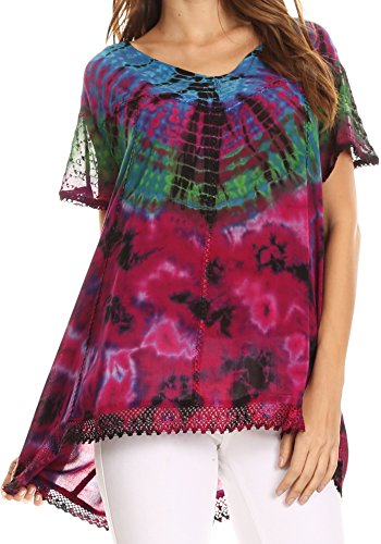 Sakkas 17787 - Josea Relaxed Fit Tie Dye Embroidered Crepe Cap Sleeve Blouse | Cover Up - Blue/Fuchsia - OSP