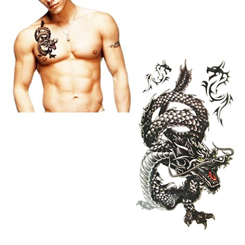 Dragon Tattoo Leg (Coromose® Creative Design, Black Dragon Waterproof and Sweat Tattoo Stickers)