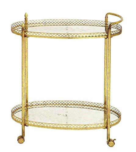 Walkover Benzara 93749 Metal Glass Tea Cart in Stylish an...