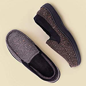 LongBay Men's Memory Foam Moccasin Slippers Plush Fleece House Shoes in Indoor/Outdoor Loafer Style
