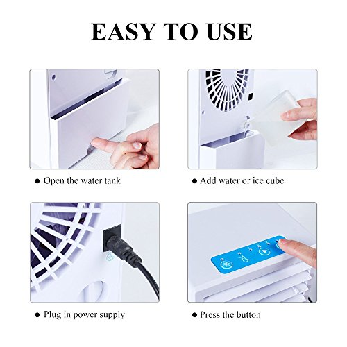 Dressffe Portable Air Conditioner Fan Mini Evaporative Air Circulator Cooler Humidifier, Three Wind Speed, Spray Cooling Mist, Air refreashing, Easy to Use (White) by Dressffe (Image #4)