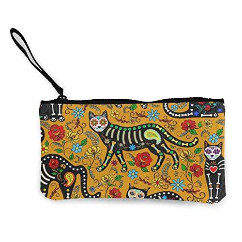 Halloween Face Panda Cat Women's Travel Makeup Bags Canvas Coin Purse Unique Clutch Pouch Phone Organizer Bag -