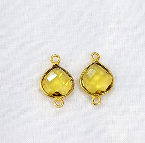 (Devgemsandjewels Citrine Quartz Hydro Glass Heart Shape 11 mm Double Bail Gemstone Connector 24k Gold Plated 2pc)