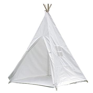 Tipi Zelt für Kinder mit Verbundenem Boden, Indianer Spielzelt aus  Segeltuch Baumwolle mit Schließbares Fenster Weiß