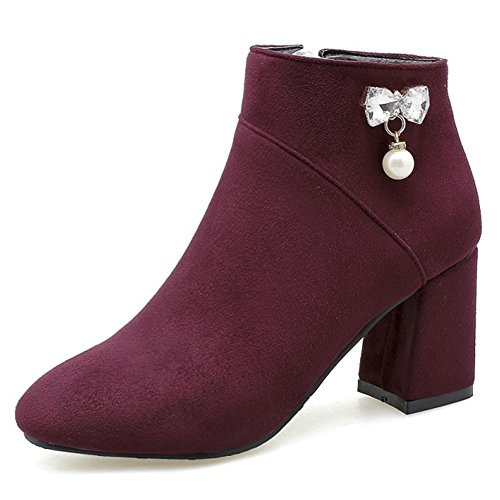 Wine Toe Zipper Chunky Pearl QZUnique with Boots Martin and Booties Heel Crystal Mid Ankle Decoration Round Women Red U4qAgwS