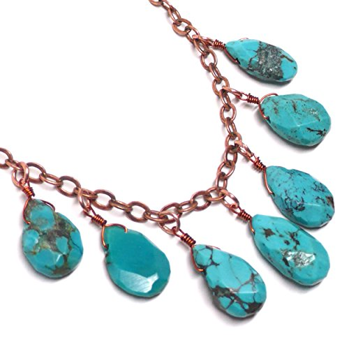 Turquoise Teardrops Copper-Plate Chain Necklace 24 Inches