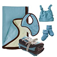 Babysoy Soy Soft Blanket and Accessories Set in Blossom (Blanket, D. Knot Hat, Bib, Burpie, Socks) (6-12M)