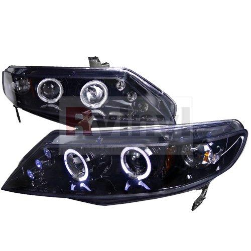 Honda Civic Sedan 2006 2007 2008 2009 2010 2011 LED Halo Projector Headlights - Black