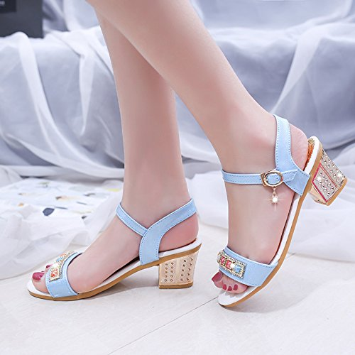 Moda Mujer verano sandalias confortables tacones altos Blue
