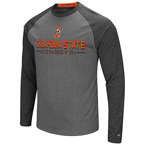 Sleeve Oklahoma Embroidered Long (Mens Oklahoma State Cowboys Long Sleeve Raglan Tee Shirt - L with Personalized Name Embroidered)