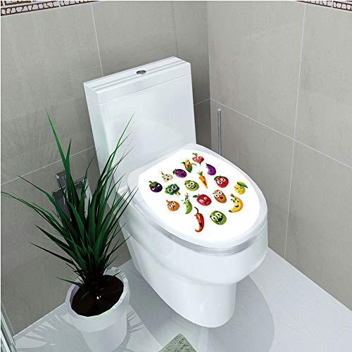 Toilet Custom Sticker,Emoji,Fruits and Vegetables Carrot Banana Pepper Onion Garlic Food Cartoon Style Symbols,Multicolor,Diversified Design,W12.6