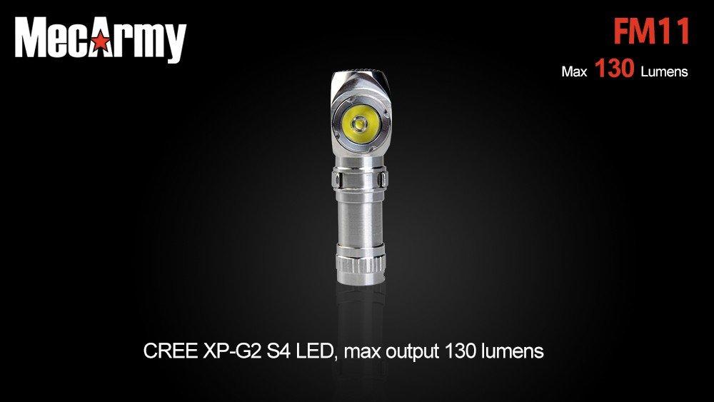 MecArmy FM11 Edelstahl 130 Winkellampe mit 130 Edelstahl Lumen für 10180er Akku 11b374