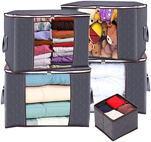 Blankets king do way Closet Organizer Clothes Storage Bags Large Capacity Clothing Storage with Reinforced Handle Stainless Steel Zipper,3 Layer Fabric for Comforters Clothing Coffee Bedding